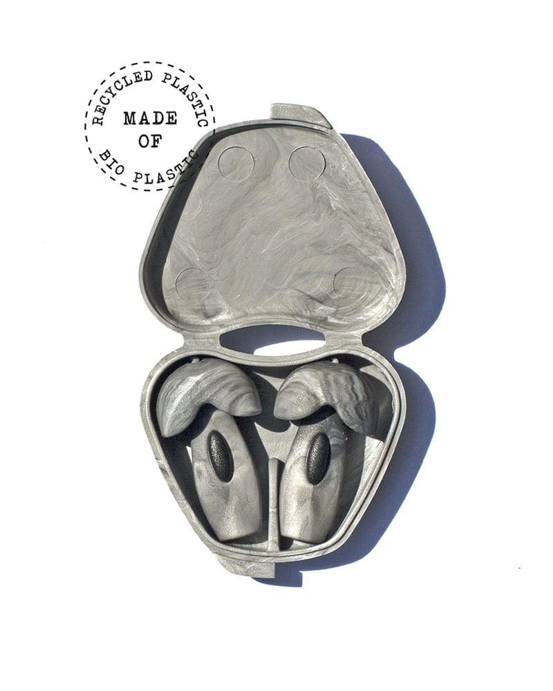 Grey Happy Ears earplugs from recycled plastic in storage case
