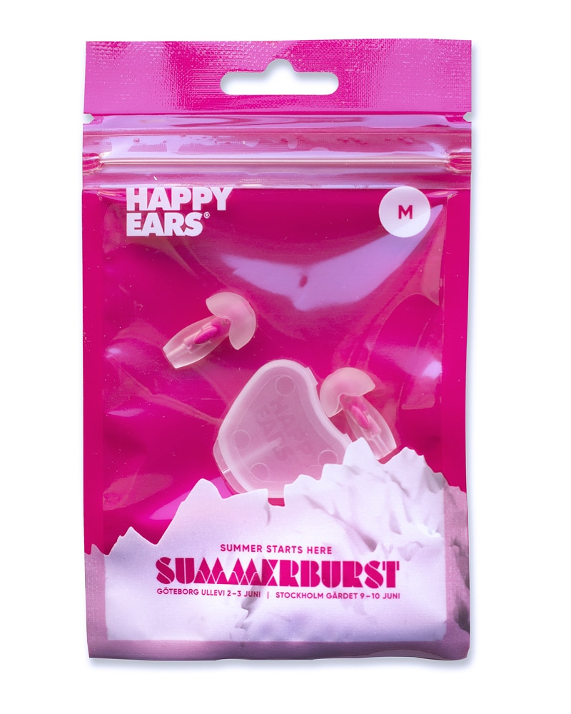 Happy Ears pink festival earplugs size medium Summer burst edition